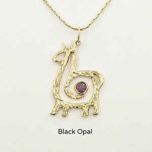 Alpaca or Llama Compact Spiral Pendant with Gemstone - 14K Yellow Gold with Black Opal