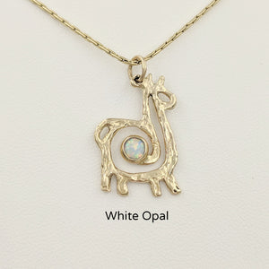 Alpaca or Llama Compact Spiral Pendant with Gemstone - 14K Yellow Gold with White Opal