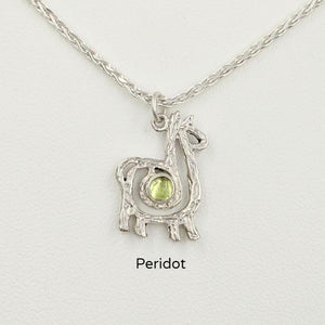 Alpaca or Llama Compact Spiral Pendant with Gemstone - Sterling Silver with Peridot