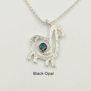 Alpaca or Llama Compact Spiral Pendant with Gemstone - Sterling Silver with Black Opal