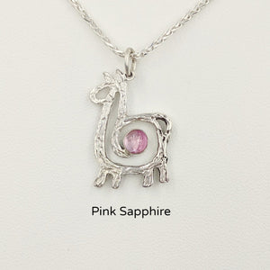 Alpaca or Llama Compact Spiral Pendant with Gemstone - Sterling Silver with Pink Sapphire