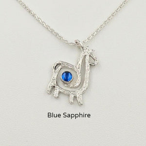Alpaca or Llama Compact Spiral Pendant with Gemstone - Sterling Silver with Imitation Blue Sapphire