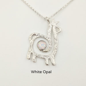 Alpaca or Llama Compact Spiral Pendant with Gemstone - Sterling Silver with White Opal