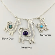 Load image into Gallery viewer, Alpaca or Llama Compact Spiral Pendant with Gemstone - Sterling Silver with Black Opal, Amethyst, and Turquoise (3 pendants shown)