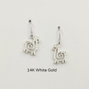 Alpaca or Llama Compact Spiral Earrings - French Wires; 14K White Gold