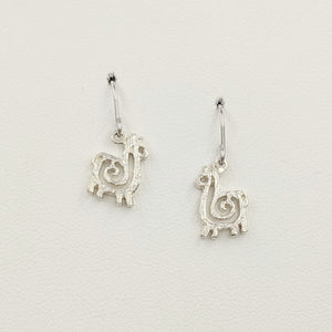 Alpaca or Llama Compact Spiral Earrings - French Wires; Sterling Silver