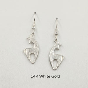 Alpaca or Llama Spirit Crescent Earrings - 14K White Gold on French wires