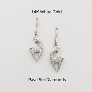 Alpaca or Llama Spirit Crescent Earrings - Petite size with Pave set diamonds  14K White Gold on wires
