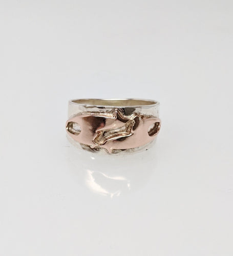 Alpaca or Llama Duo Ring Sterling Silver band with 14K Rose Gold animals