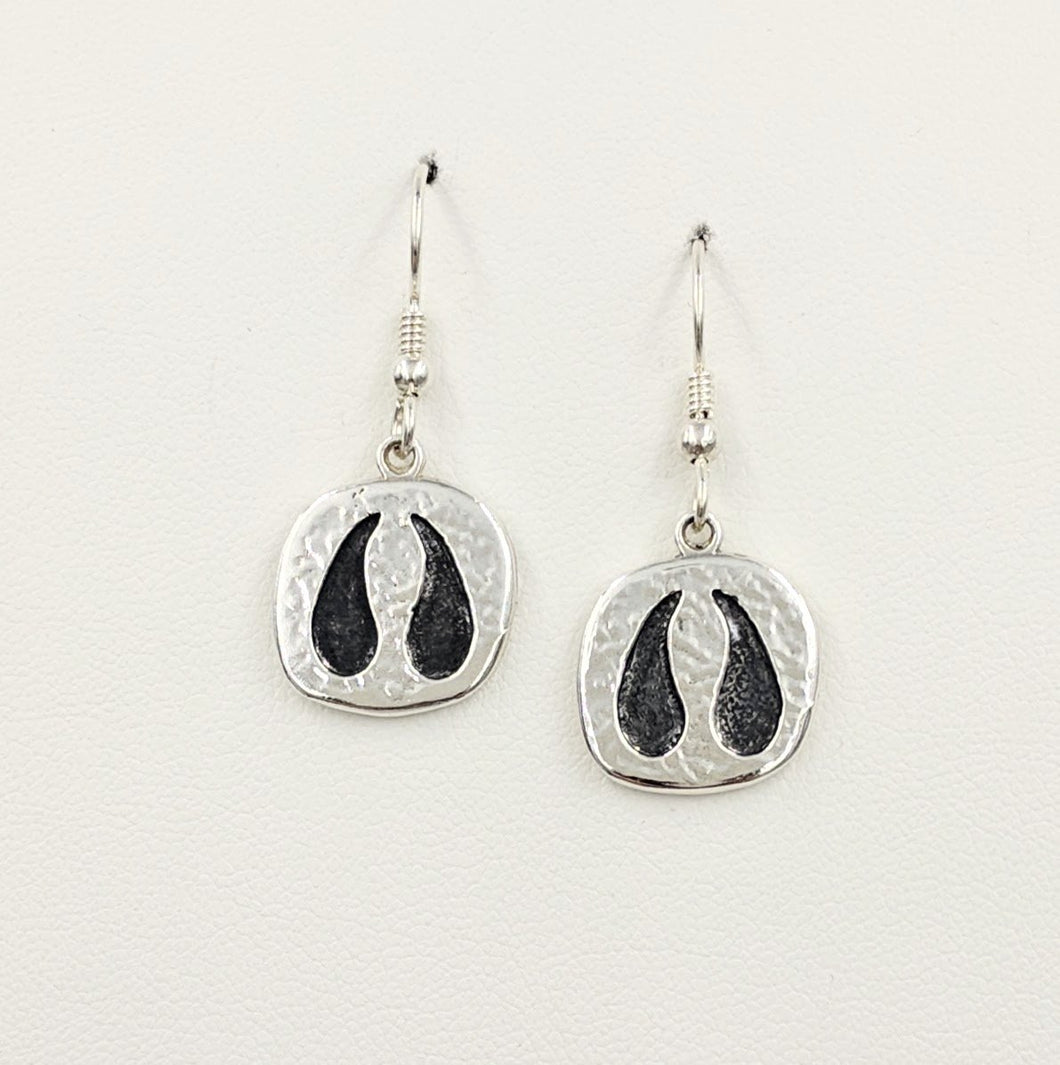 Llama or Alpaca Footprint Earrings - Sterling Silver on French wires
