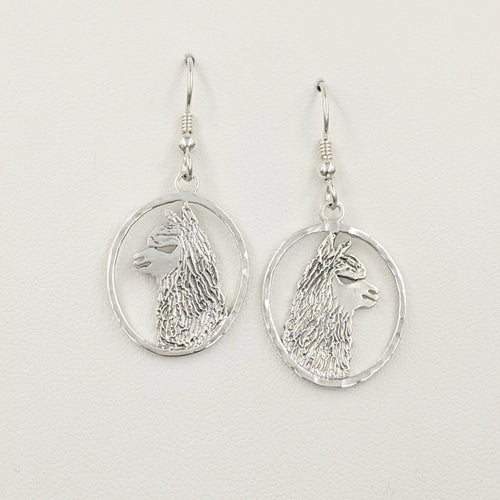 Alpaca Huacaya head silhouette oval dangle earrings - Sterling silver with hammered rim