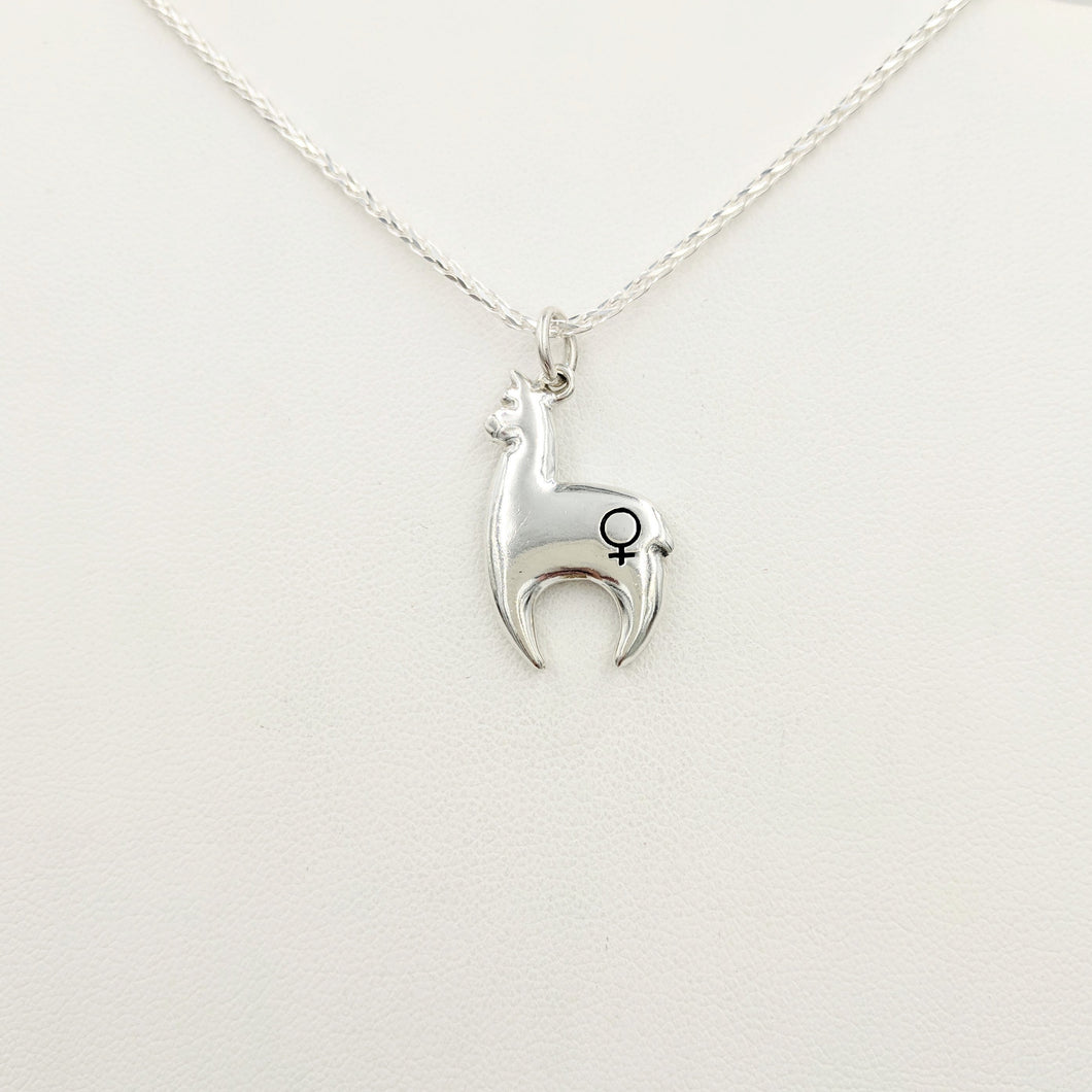 Alpaca Huacaya hand-made Sterling silver crescent shaped pendant with a gender accent stamp; shiny finish