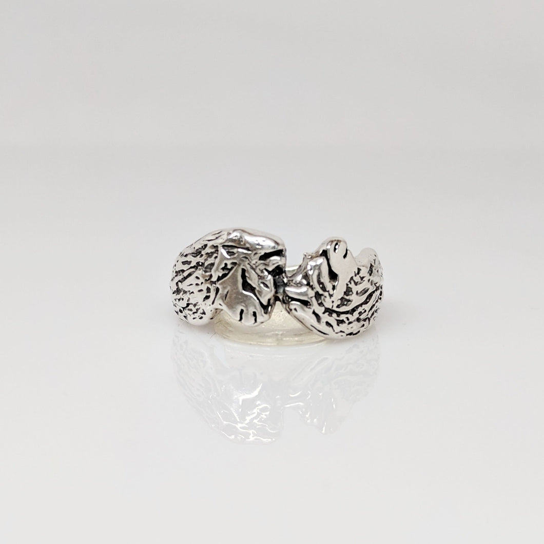 Unique Duo Head Alpaca Huacaya Ring - Sterling silver; hand-made; extremely comfortable