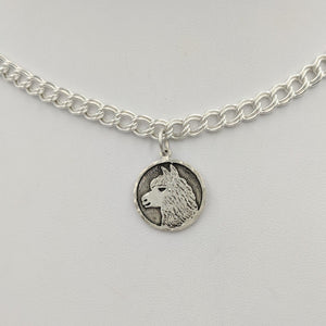 Alpaca Huacaya Head Coin Charm in Sterling Silver