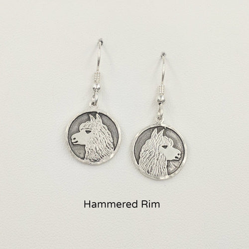 Alpaca Huycaya Head Coin Earrings - Sterling Silver with Hammered Rims on French wires
