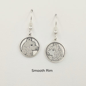Alpaca Huycaya Head Coin Earrings - Sterling Silver with Smooth Rims on French wires