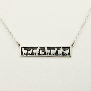 Alpaca Huacaya Herd Line Bar Necklace -  Sterling Silver; Fully oxidized for accent