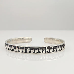 Alpaca Huacaya Herd Line Cuff Bracelet - Sterling Silver; Oxidized for Accent