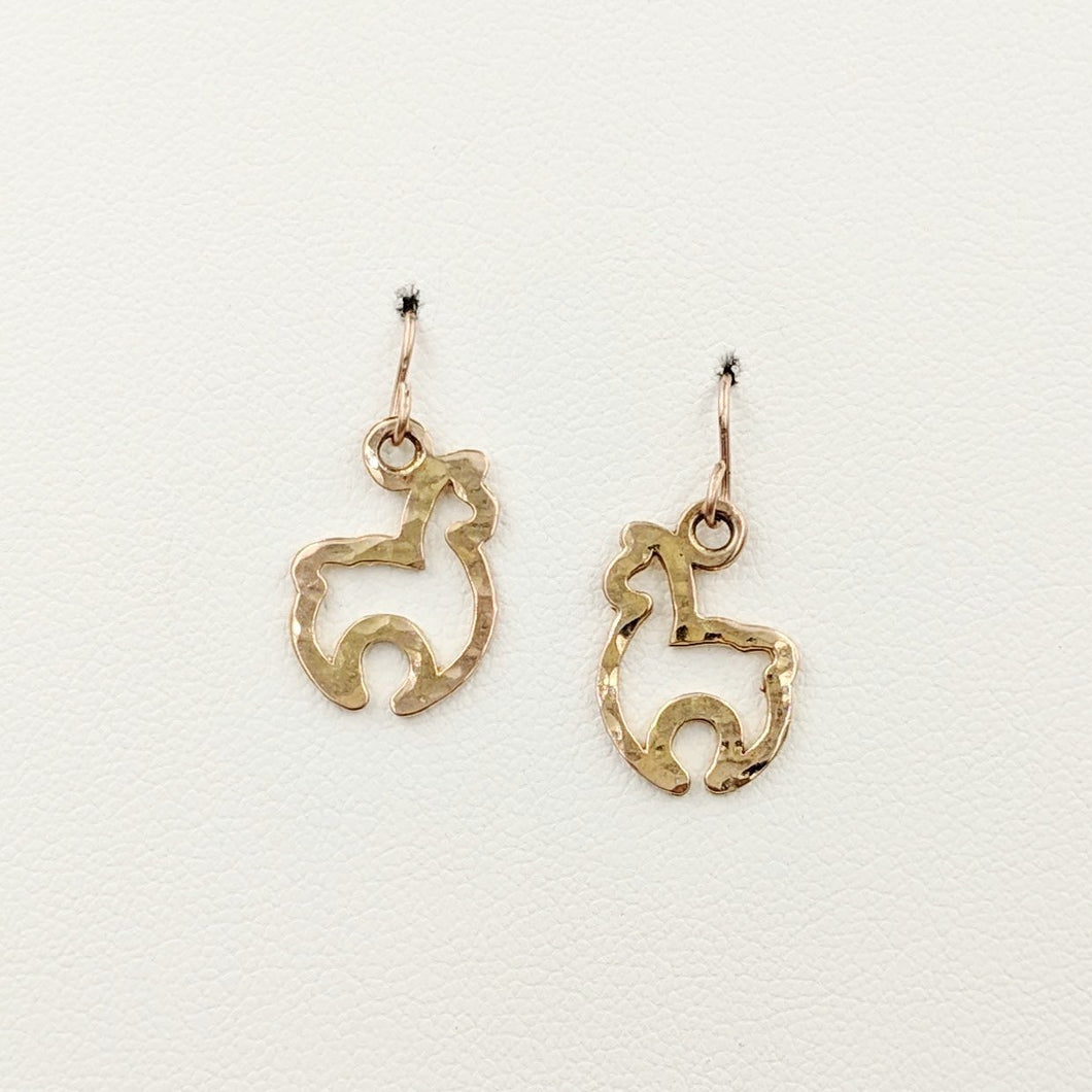 Alpaca Huacaya Open Silhouette Earrings - Hammered Finish 14K Rose Gold on French wires
