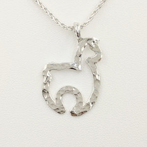 Alpaca Huacaya Open Silhouette Pendant -  hammered finish sterling silver