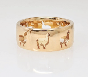 Alpaca Huacaya Silhouette Icon Punch Ring - smooth finish 14K yellow gold