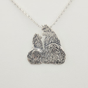 Alpaca Huacaya Kush Kiss Swoosh Tush Pendant - Mother and baby cria are kushed and touching noses and the tails actually move; Sterling Silver