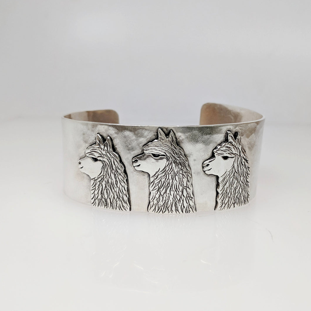 Alpaca Huacaya Tri-Head Cuff  Bracelet - Sterling Silver band with Sterling Silver Animal Profiles