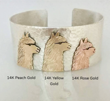 Load image into Gallery viewer, Alpaca Huacaya Tri-Head Cuff  Bracelet - Sterling Silver band with 14K Peach, Yellow and Rose Gold Animal Profiles