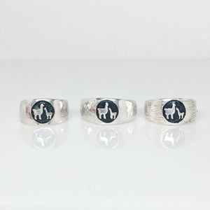 Sample of the different finishes for the Momma Baby Cria Signet Rings in Sterling Silver - wide width   shiny, hammered and fiber textures