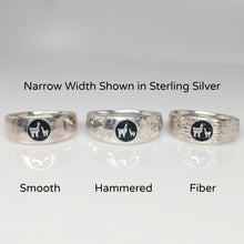 Load image into Gallery viewer, Momma Baby Cria  Signet Ring 3 textures shown in narrow width - smooth, hammered and fiber - shown in Sterling Silver