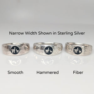 Momma Baby Cria  Signet Ring 3 textures shown in narrow width - smooth, hammered and fiber - shown in Sterling Silver