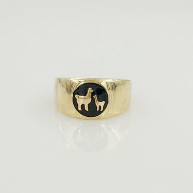 Momma Baby Cria Signet Ring in 14K Yellow Gold -  smooth and shiny finish
