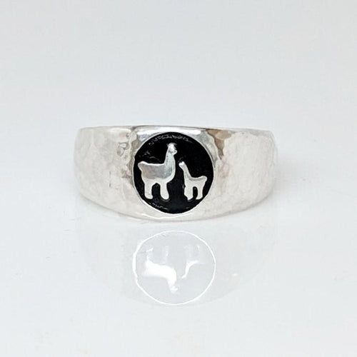 Momma Baby Cria Signet Ring in Sterling Silver -wide width hammered texture