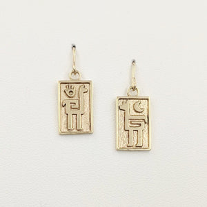 Alpaca or Llama Petroglyph Earrings  smooth texture   French wires  14K Yellow Gold