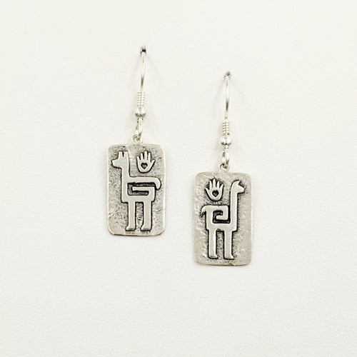 Alpaca or Llama Quechua Petroglyph Earrings  - Sterling Silver satin finish on French wires