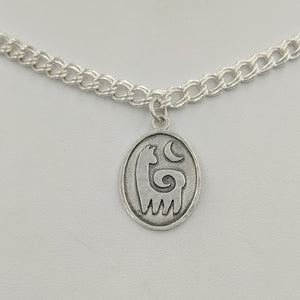 Alpaca or Llama Reflection Petrogylph Charm - with Moon Hammered Rim  Sterling Silver