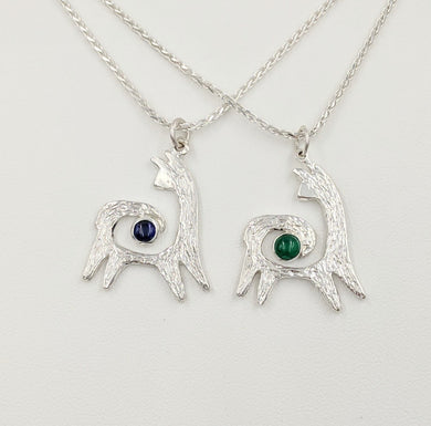 Two Alpaca or Llama Reflection Spiral Pendants - One with an Iolite Cabochon Gemstone and One with an imitation Emerald Cabochon Gemstone - Sterling Silver
