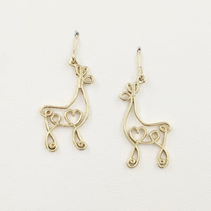 Alpaca or Llama Romantic Ribbon Momma And Baby Cria Earrings on French wires- Looks like a continuous line drawing made onto the shape of an alpaca or llama  Smooth finish 14K Yellow Gold