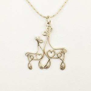 Alpaca or Llama Romantic Ribbon Momma And Baby Cria Pendant - Looks like a continuous line drawing made onto the shape of an alpaca or llama  14K Yellow Gold