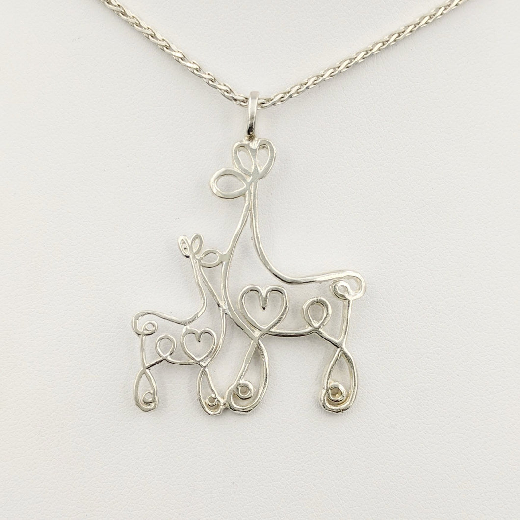 Alpaca or Llama Romantic Ribbon Momma And Baby Cria Pendant - Looks like a continuous line drawing made onto the shape of an alpaca or llama  Sterling Silver
