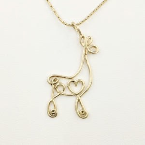 Alpaca or Llama Romantic Ribbon Pendant - Looks like a continuous line drawing made onto the shape of an alpaca or llama  Smooth finish 14K Yellow Gold