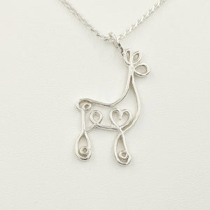 Alpaca or Llama Romantic Ribbon Pendant - Looks like a continuous line drawing made onto the shape of an alpaca or llama  Smooth finish Sterling Silver