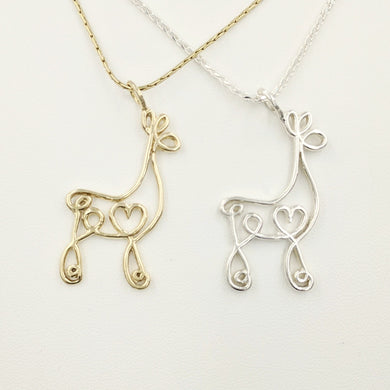 Alpaca or Llama Romantic Ribbon Pendant - Looks like a continuous line drawing made onto the shape of an alpaca or llama   Smooth finish 14K Yellow Gold and Sterling Silver