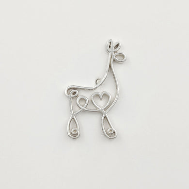 Alpaca or Llama Romantic Ribbon Pin or Tie Tac - Looks like a continuous line drawing made onto the shape of an alpaca or llama  Smooth finish Sterling Silver