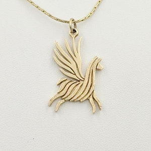 Alpaca or Llama Winged Soaring Spirit Pendant - 14K Yellow Gold  Animal fiber finish