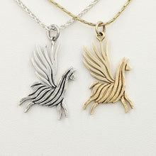 Load image into Gallery viewer, Alpaca or Llama Winged Soaring Spirit Pendant - Sterling Silver and 14K Yellow Gold   Animals fiber finish