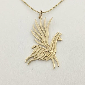 Alpaca or Llama Winged Soaring Spirit with Heart Pendant 14K Yellow Gold Smooth finish
