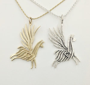 Alpaca or Llama Winged Soaring Spirit with Heart Pendant  14K Yellow Gold smooth animal  Sterling Silver fiber finish