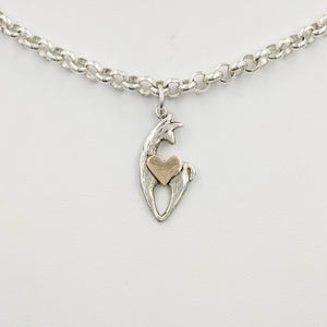 Alpaca or Llama Spirit Crescent Charm with Heart Accent Sterling Silver animal with 14K Rose Gold Heart accent