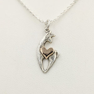 Alpaca or Llama Spirit Crescent Pendants with Heart Accent - Sterling Silver Animal with 14K Rose Gold heart accent